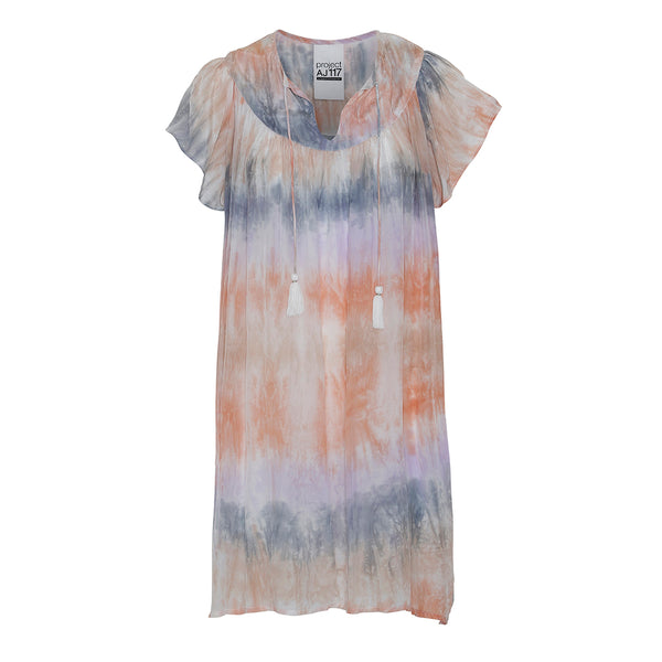 short tie dye dress in multi pastel color