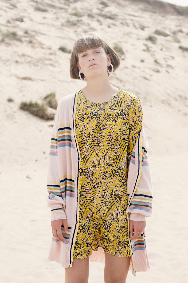Gwyneth short yellow silk dress burnout flower print long sleeves