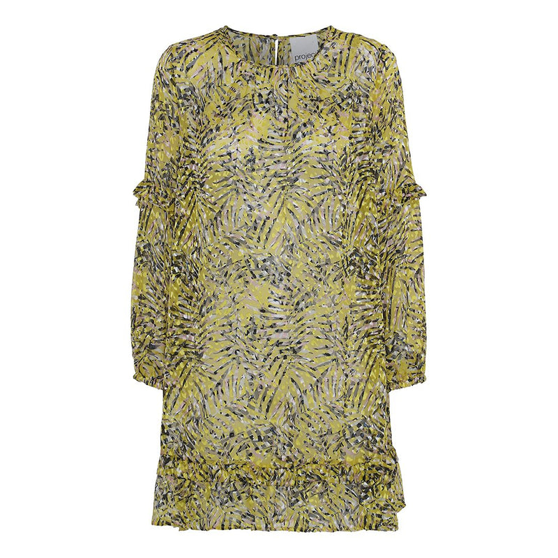 project aj117 yellow silk dress with burnout flower print long sleeves