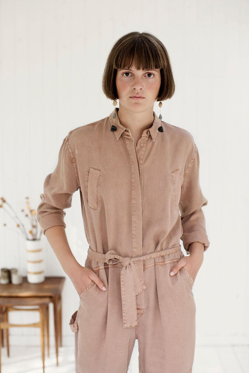 project aj houston jumpsuit with collar and belt