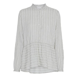 offwhite shirt with stripes round neck raw edges