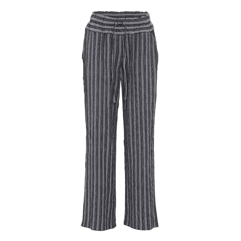 long loose pants in dark blue and grey stripes