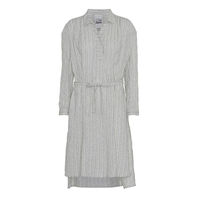 long stripe dress with belt in chalk with collar and placket