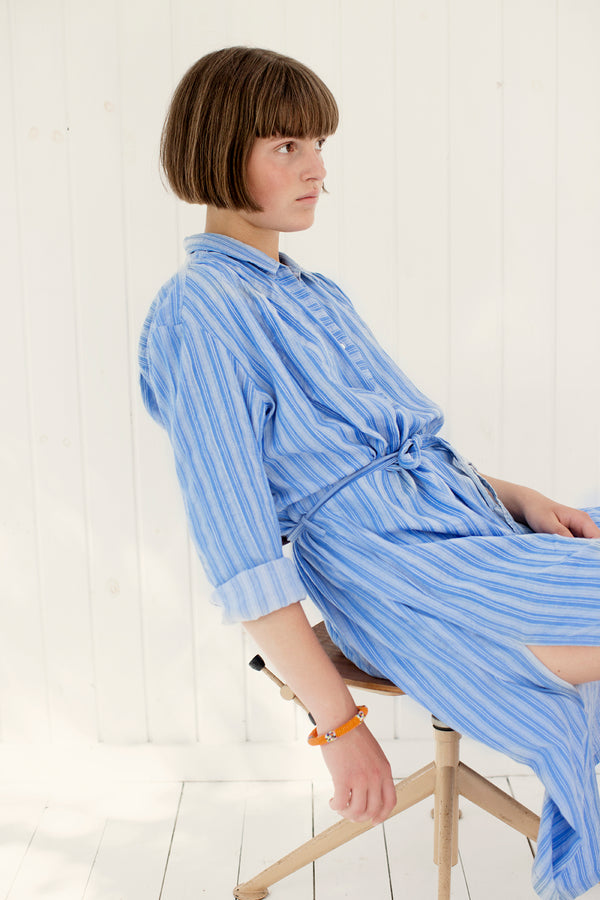 stripe dress in light blue with belt and long sleeves