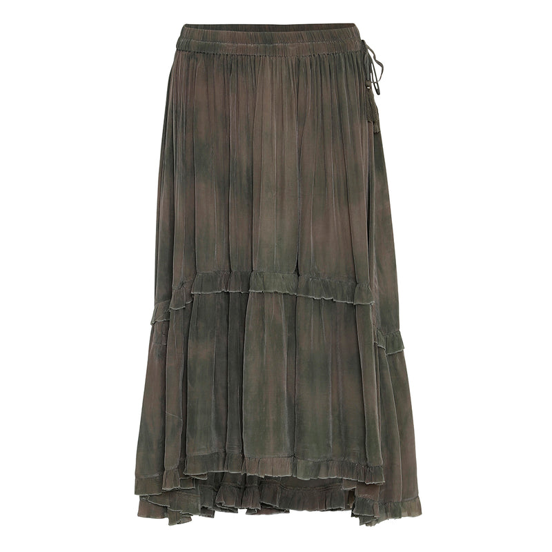 tie dye army color skirt with elastic waist and tassels