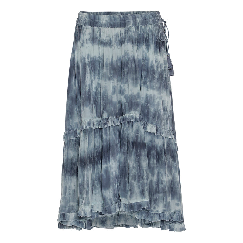 tie dye blue color skirt with elastic waist and tassels