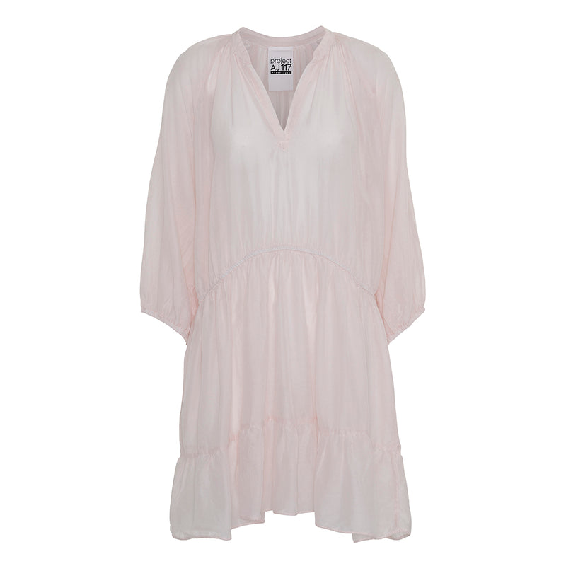 project aj117 micha cotton silk dress baby pink v-neck and loose fit