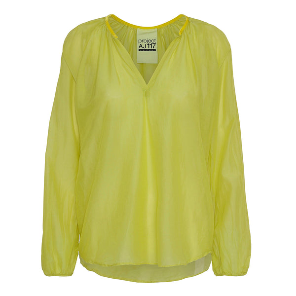 project aj117 Mirren shirt in bright yellow with v-neck and long sleeves
