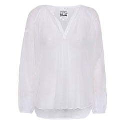 white cotton silk shirt v-neck long sleeves