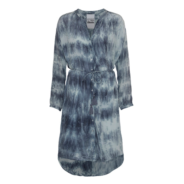 tie dye dress in blue colors with belt and tassels