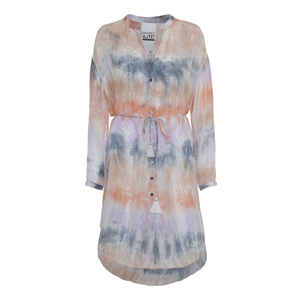 tie dye dress in pastel color with belt and tassels