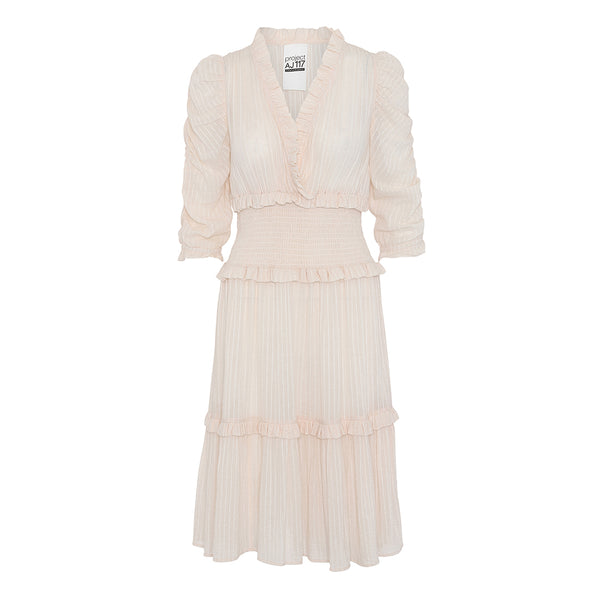 sam vintage dress in soft baby pink with ruffles puff sleeves and elastic waist