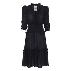 sam soft vintage dress in black with ruffles and puff sleeves and elastic waist