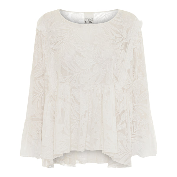 white shirt embroidery loose fit flared sleeves