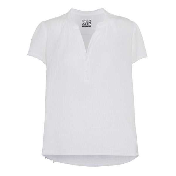 white top in waffle cotton short sleeves v-neck