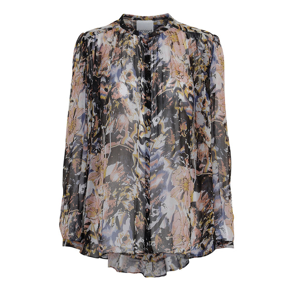multi color viscose chiffon shirt with pleats and round neck