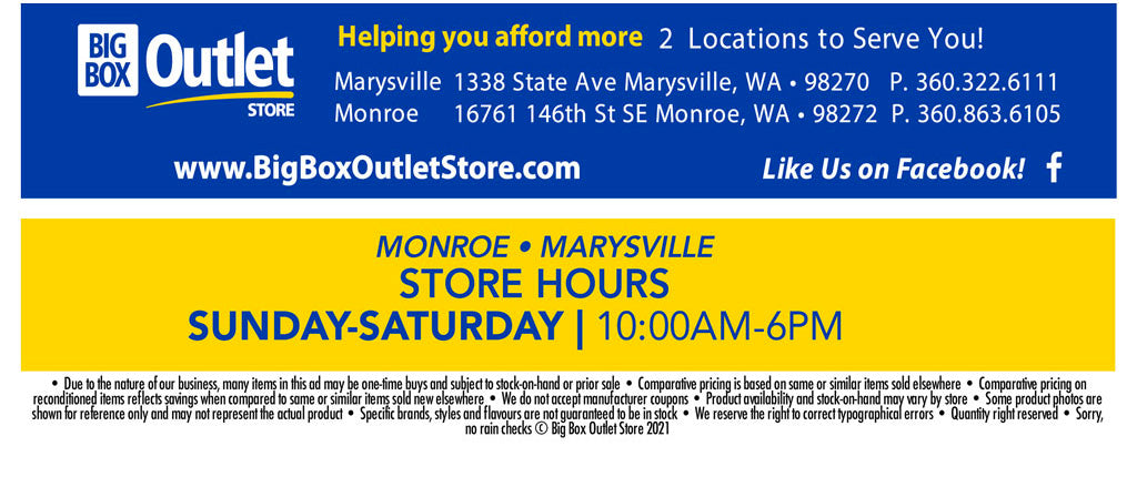 Big Box Outlet Store Hours Monroe Marysvile