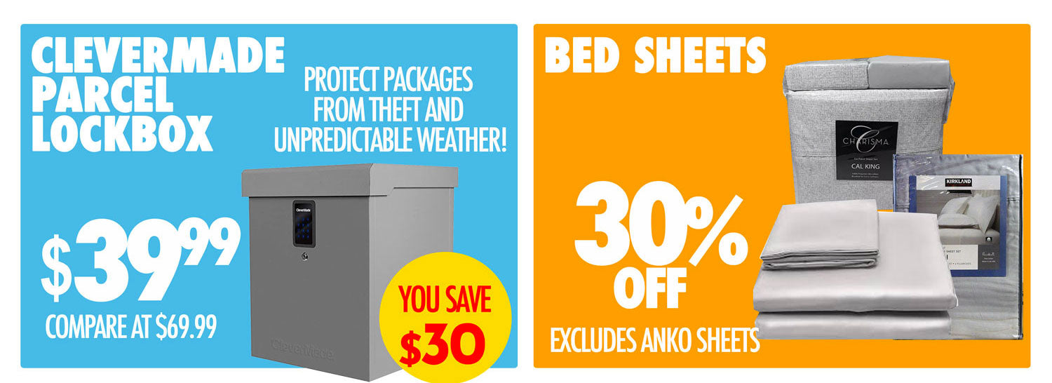 Clevermade Parcel lockbox $39.99 Bed Sheets 30%off