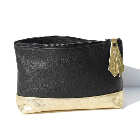clara millan mixed leather cosmetic case black gold
