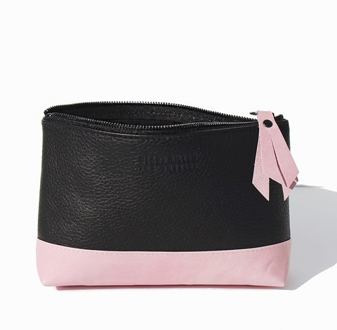 leather cosmetic bag pink and black