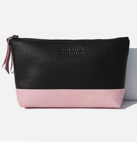 clara millan leather cosmetic bag pink black