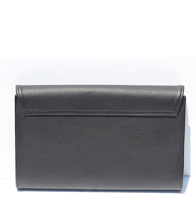 leather black clutch back