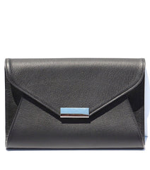 black leather envelope clutch