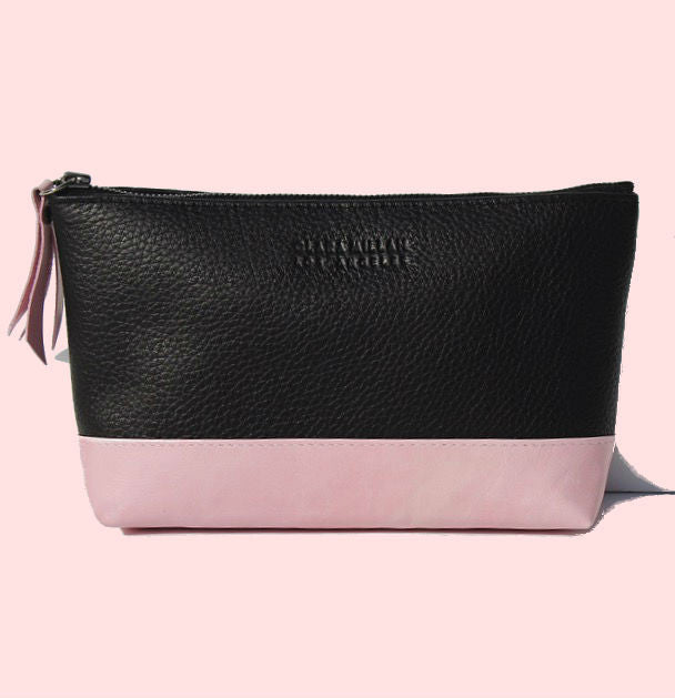MIXED LEATHER COSMETIC CASE | PINK