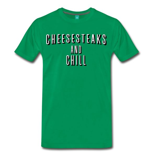 Cheesesteaks and Chill Men's T-Shirt - kelly green