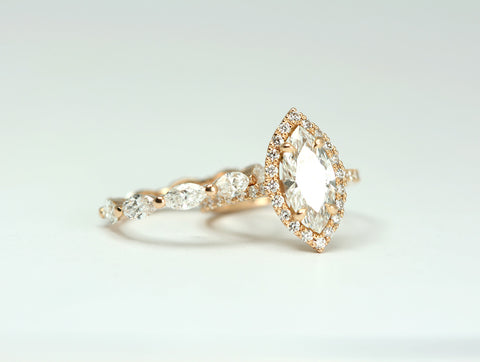 Marquise Diamond Rose Gold Engagement Ring and Wedding Band