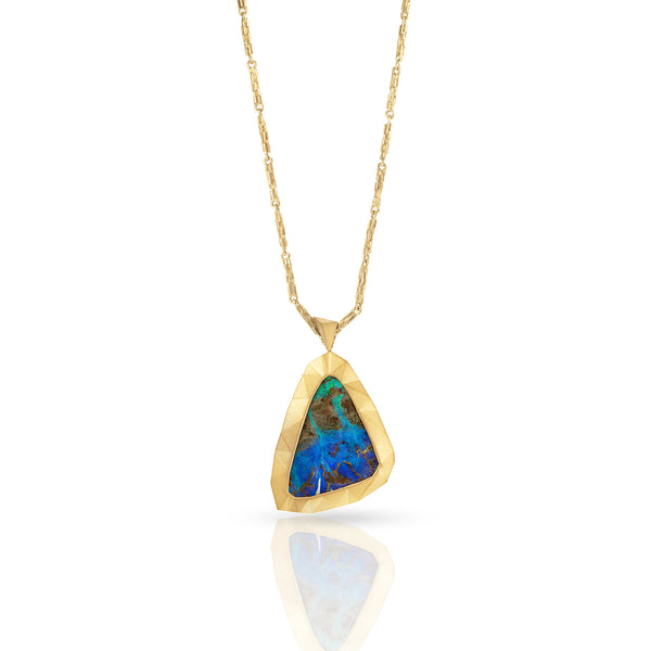 Boulder Opal and 18ct yellow gold pendant