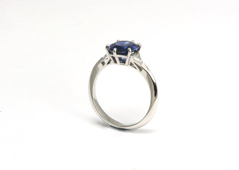 Sapphire & Diamond Maserati Birdcage Platinum Engagement Ring