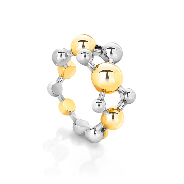 Gold Vermeil and Sterling Silver Two Tone Atomic Sphere Ring