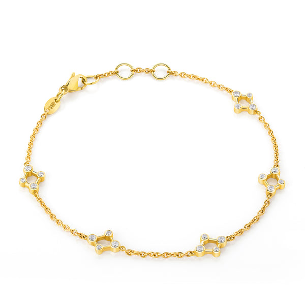 18ct Yellow Gold Atomic Infinity Diamond Bracelet