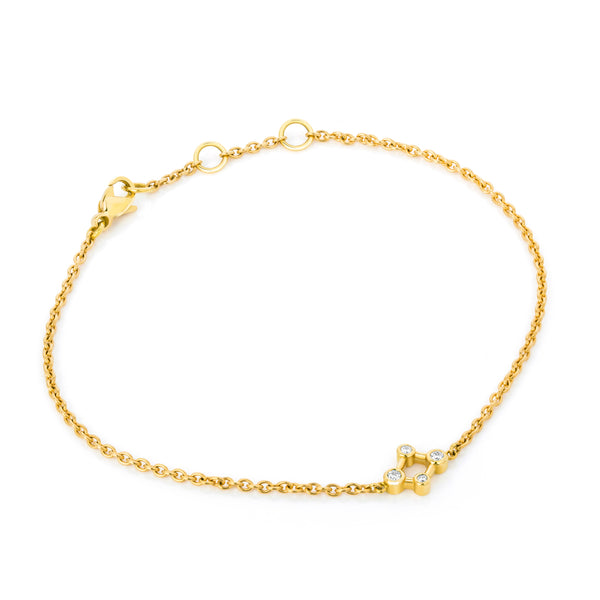18ct Yellow Gold Atomic Micro Diamond Bracelet