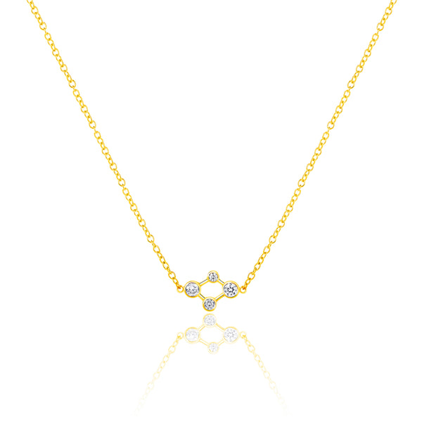 18ct Yellow Gold Atomic Micro Diamond Necklace