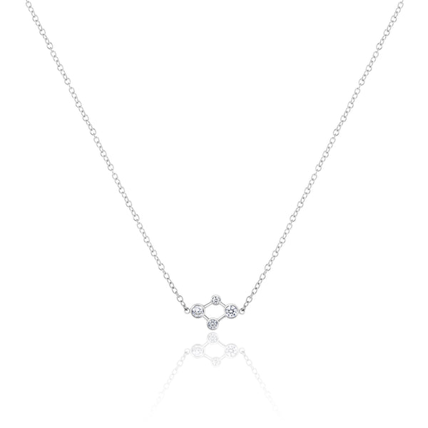 18ct White Gold Atomic Micro Diamond Necklace