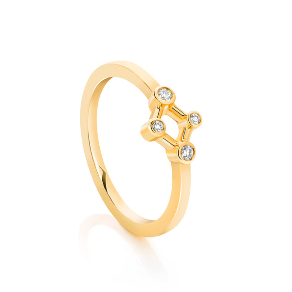 18ct Yellow Gold Atomic Micro Diamond Ring