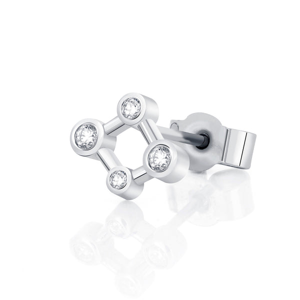 18ct White Gold Single Atomic Micro Diamond Stud