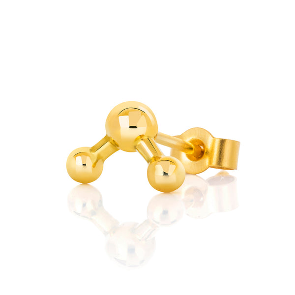18ct Yellow Gold Single Atomic Sphere Stud