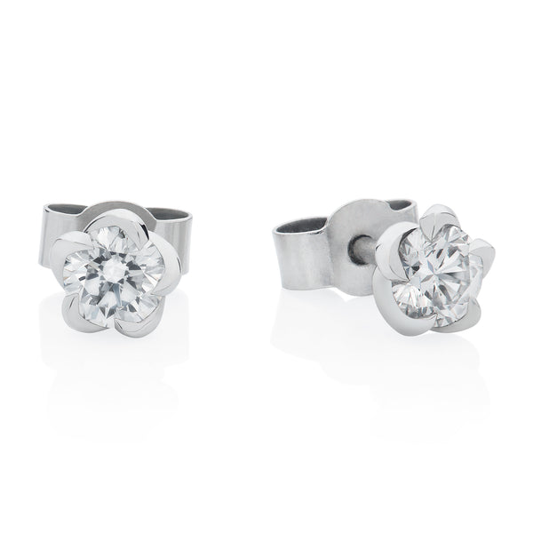 Platinum 0.54ct Deadly Nightshade Diamond Stud Earrings