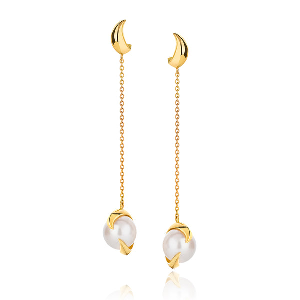 Deadly Nightshade Pearl Drop Earrings