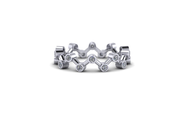 Diamond Dendritic Stacking Ring