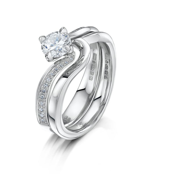 Platinum and Diamond Rain Forest Engagement Ring