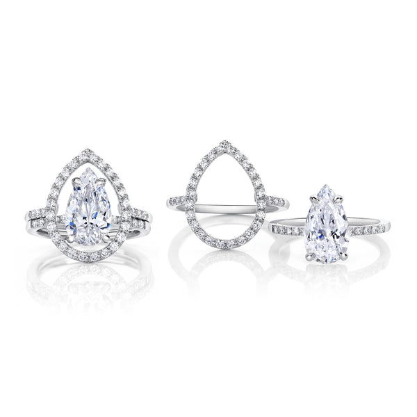 Platinum and Pear Cut Diamond Stacking Rings
