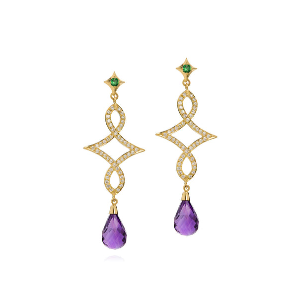 Rococo Amethyst, Tsavorite & Diamond Earrings