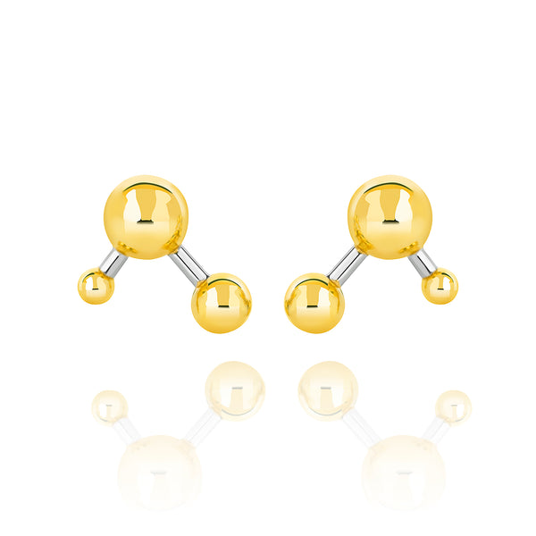 Gold Vermeil and Sterling Silver Two Tone Atomic Large Sphere Stud Earrings