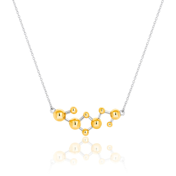 Silver & Gold Vermeil Two Tone Atomic Sphere Necklace
