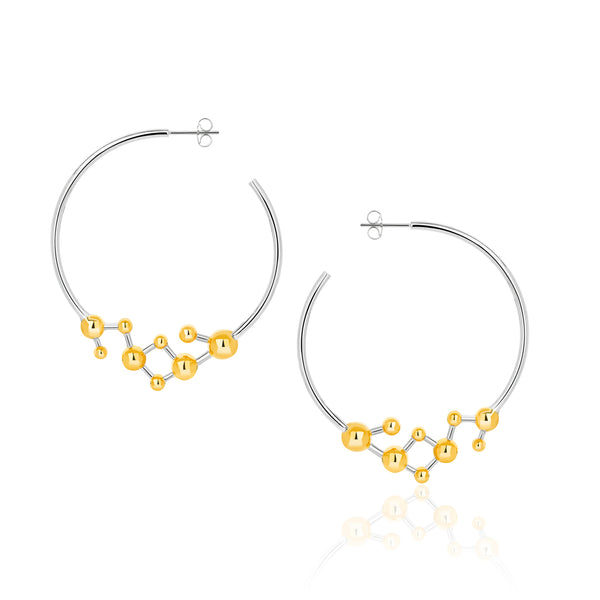 Silver and Gold Vermeil Atomic Sphere Hoop Earrings