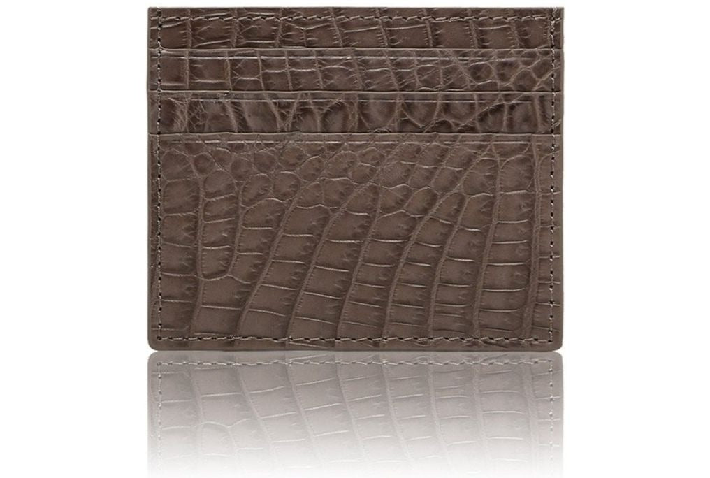 Card Case In Light Brown Alligator Leather